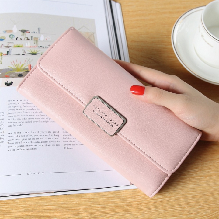 Ms Long Section Trend Buckle Hand Bag Western Style Fashion Multifunction Wallet pink one size
