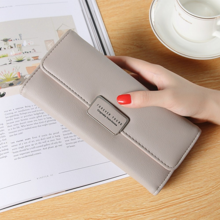 Ms Long Section Trend Buckle Hand Bag Western Style Fashion Multifunction Wallet brown one size
