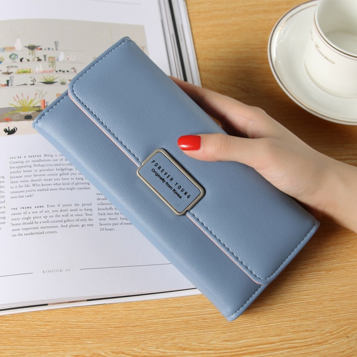 Ms Long Section Trend Buckle Hand Bag Western Style Fashion Multifunction Wallet blue one size