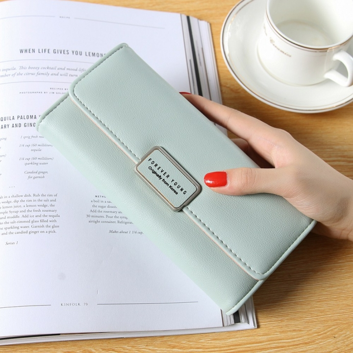 Ms Long Section Trend Buckle Hand Bag Western Style Fashion Multifunction Wallet ligth green one size