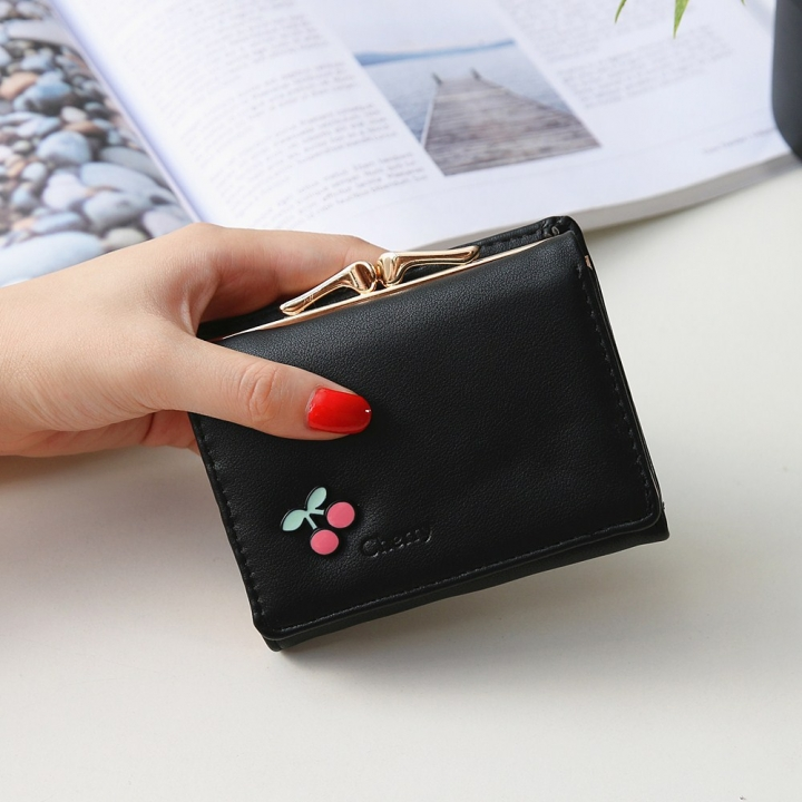 Ms Wallet Short Section Fruit Simple Student Small Wallet Mini Coin Purse Wallet black one size