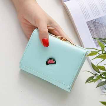Ms Wallet Short Section Fruit Simple Student Small Wallet Mini Coin Purse Wallet ligth green one size