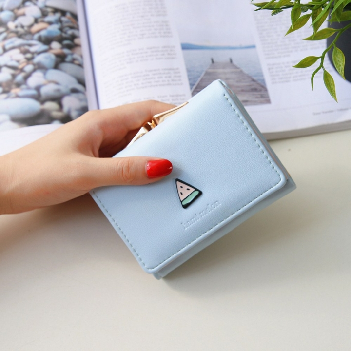 Ms Wallet Short Section Fruit Simple Student Small Wallet Mini Coin Purse Wallet sky blue one size