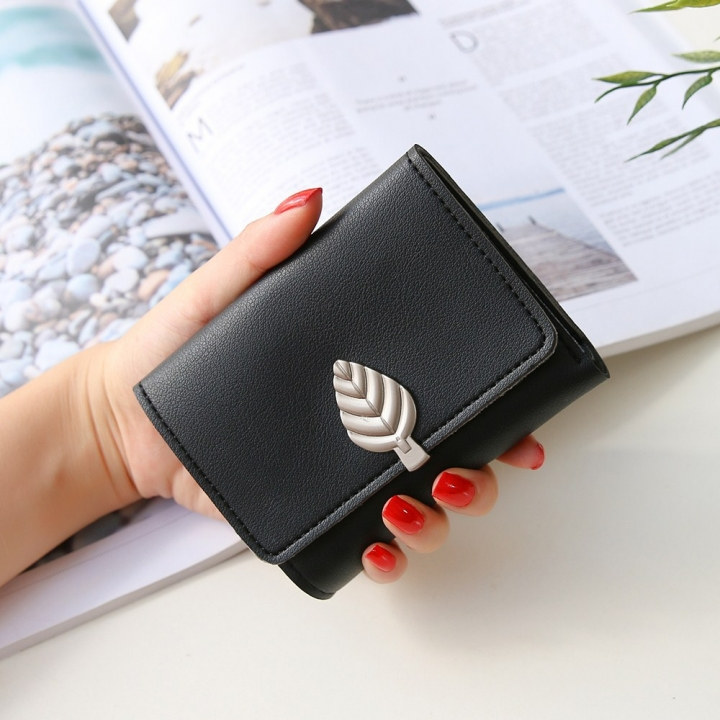 Ms Small Wallet Short Section Thin Section Soft Skin Buckle Student Wallet Folding Wallet black one size