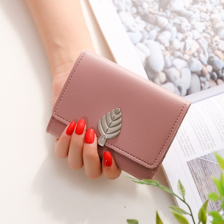 Ms Small Wallet Short Section Thin Section Soft Skin Buckle Student Wallet Folding Wallet pink one size