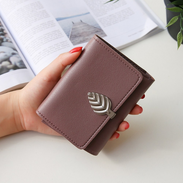 Ms Small Wallet Short Section Thin Section Soft Skin Buckle Student Wallet Folding Wallet dark pink one size