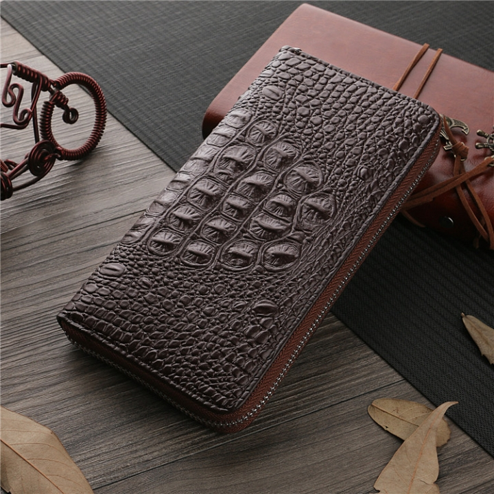 Men Wallet The New High Capacity Men Long Section Business Leisure Zipper Bag Hand Bag fine lines coffee one size