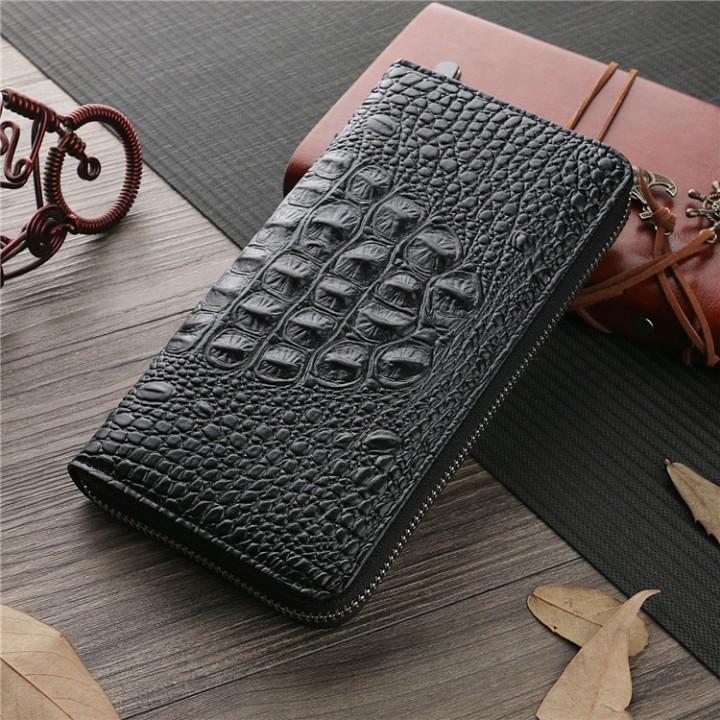 Men Wallet The New High Capacity Men Long Section Business Leisure Zipper Bag Hand Bag fine lines black one size