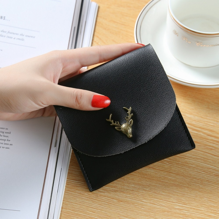 Trend Small Wallet Simple Wallet Short Section Female Buckle Coin Purse Lovely Deer Head Card Pack black one size