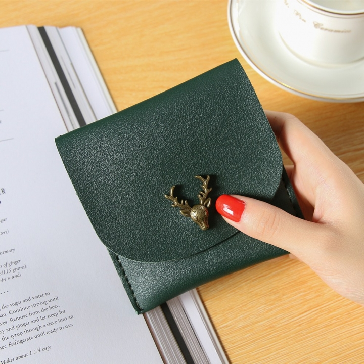 Trend Small Wallet Simple Wallet Short Section Female Buckle Coin Purse Lovely Deer Head Card Pack dark green one size