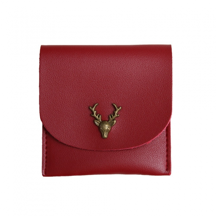 Trend Small Wallet Simple Wallet Short Section Female Buckle Coin Purse Lovely Deer Head Card Pack red one size