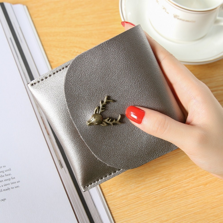 Trend Small Wallet Simple Wallet Short Section Female Buckle Coin Purse Lovely Deer Head Card Pack silver gray one size