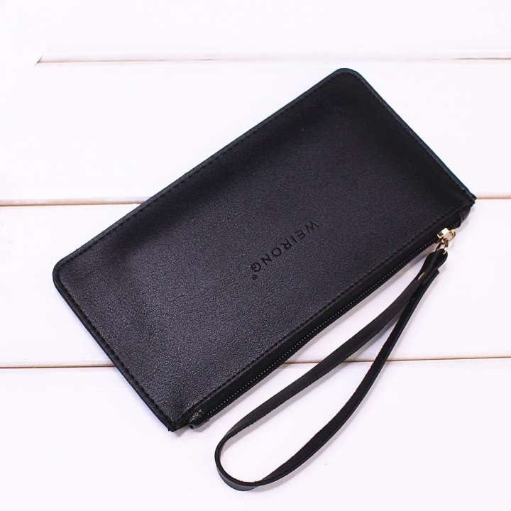 Leisure Soft Cover Long Section Wallet Fashion High Capacity Mobile Phone Hand Bag Coin Purse black one size