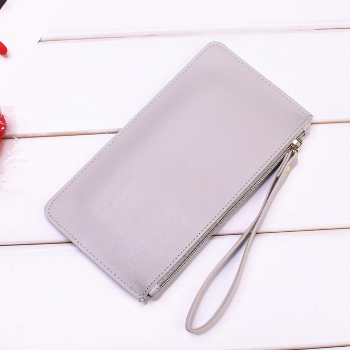 Leisure Soft Cover Long Section Wallet Fashion High Capacity Mobile Phone Hand Bag Coin Purse gray one size