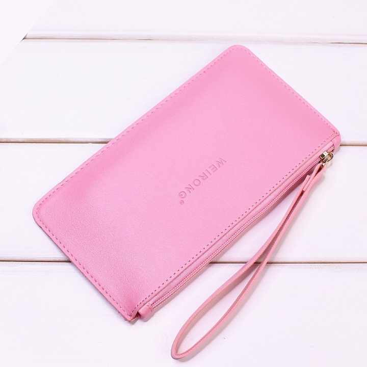 Leisure Soft Cover Long Section Wallet Fashion High Capacity Mobile Phone Hand Bag Coin Purse ligth pink one size