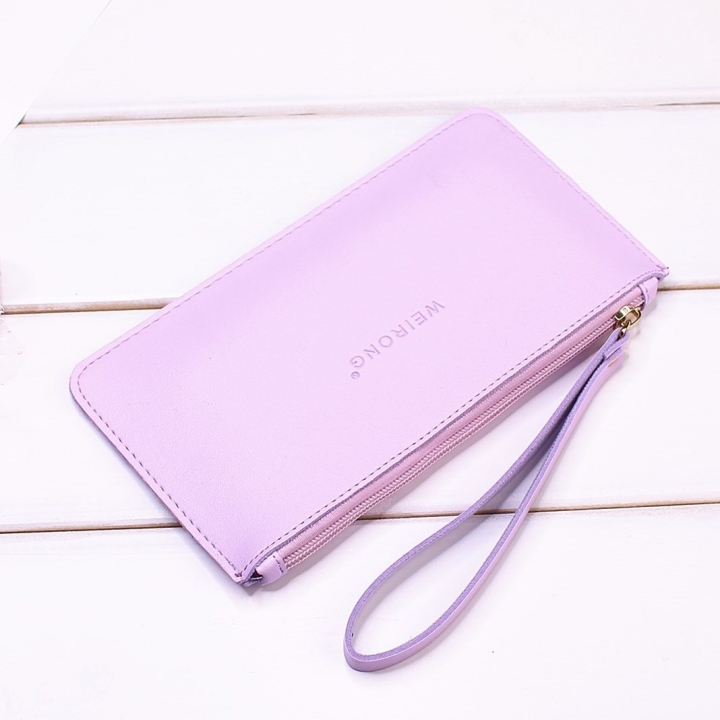 Leisure Soft Cover Long Section Wallet Fashion High Capacity Mobile Phone Hand Bag Coin Purse ligth purple one size