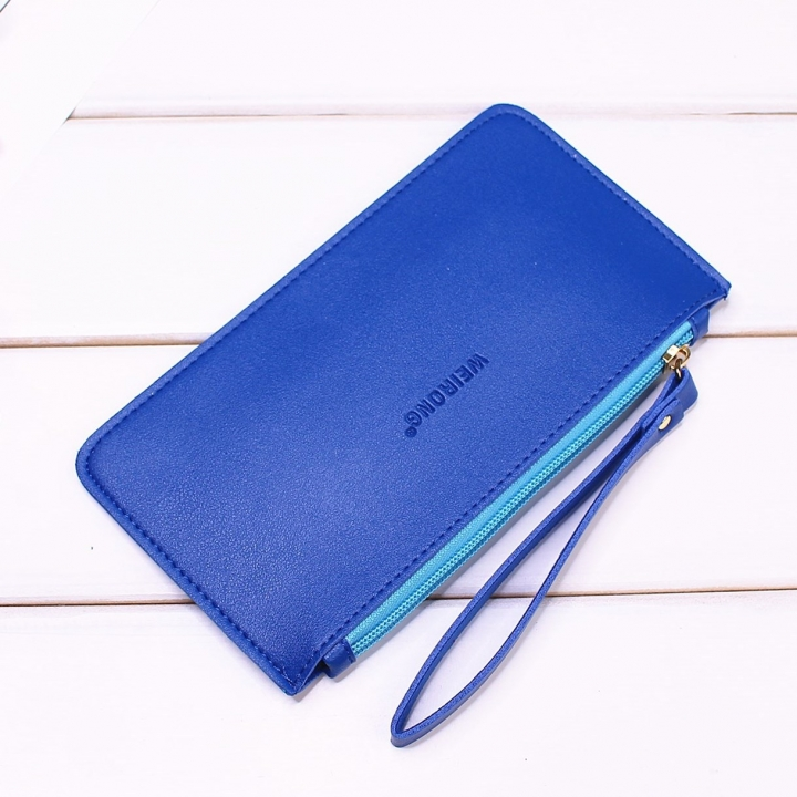 Leisure Soft Cover Long Section Wallet Fashion High Capacity Mobile Phone Hand Bag Coin Purse blue one size
