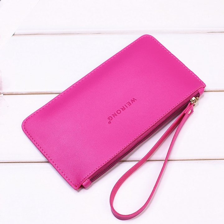 Leisure Soft Cover Long Section Wallet Fashion High Capacity Mobile Phone Hand Bag Coin Purse rose red one size