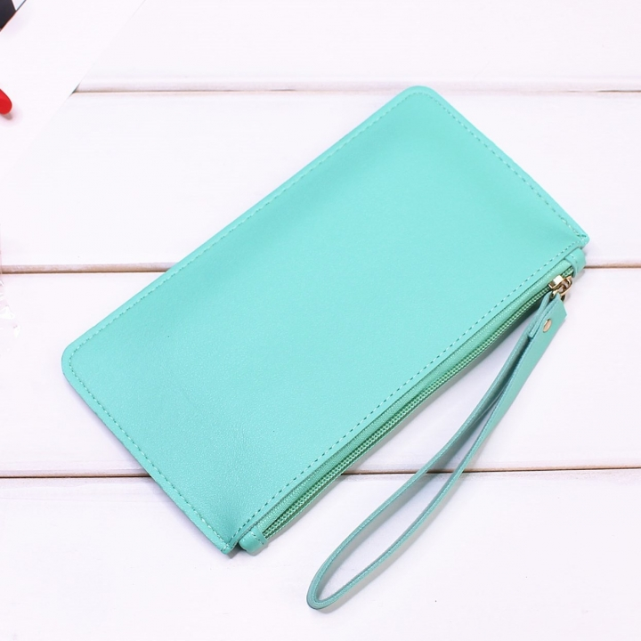 Leisure Soft Cover Long Section Wallet Fashion High Capacity Mobile Phone Hand Bag Coin Purse ligth green one size