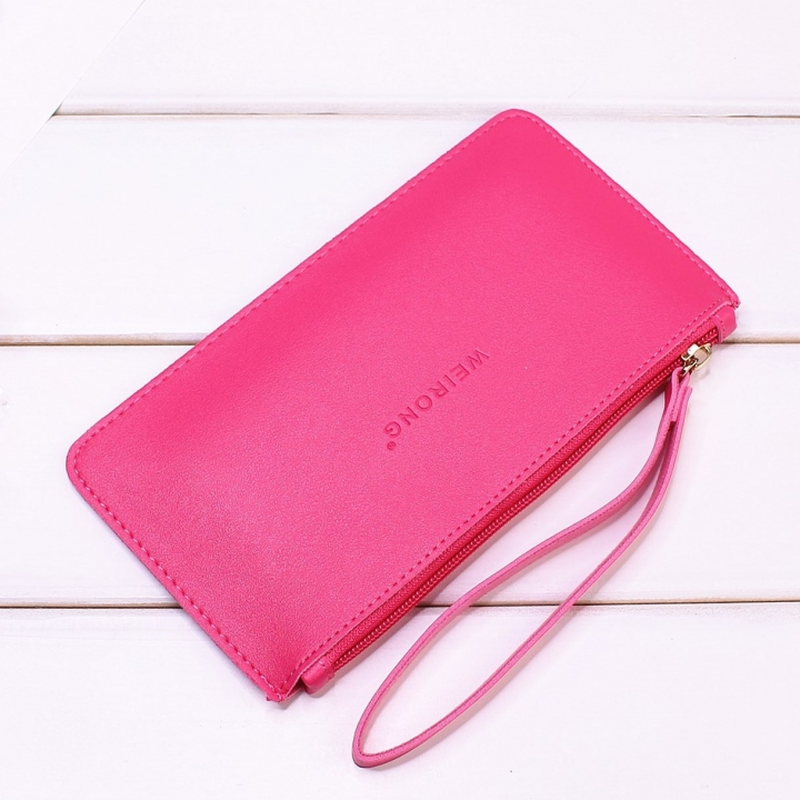 Leisure Soft Cover Long Section Wallet Fashion High Capacity Mobile Phone Hand Bag Coin Purse pink red one size