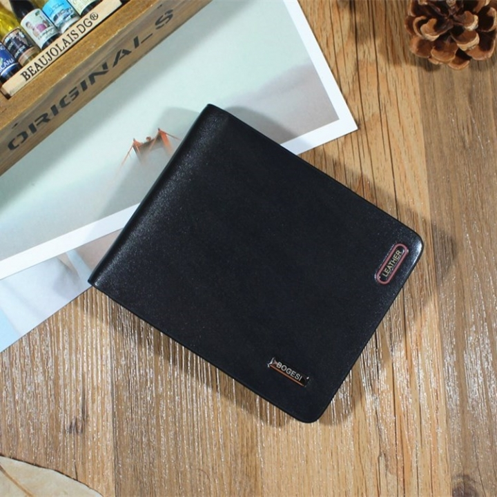 Men Wallet Short Section Ultra Thin Wallet Youth Small Wallet Men Vertical Section Ticket Holder black one size