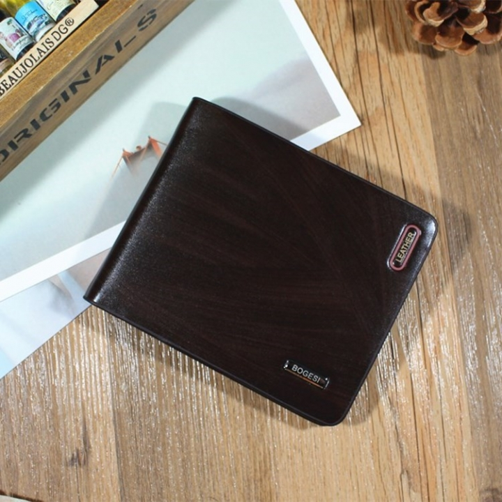 Men Wallet Short Section Ultra Thin Wallet Youth Small Wallet Men Vertical Section Ticket Holder dark coffee one size