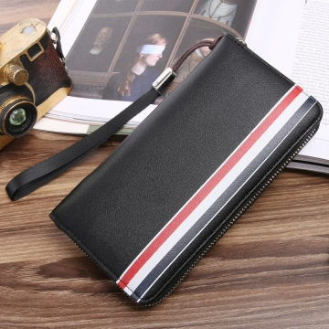 Western Style Men Long Section Wallet Zipper Fashion Hand Bag Business Leisure Male Wallet black one size