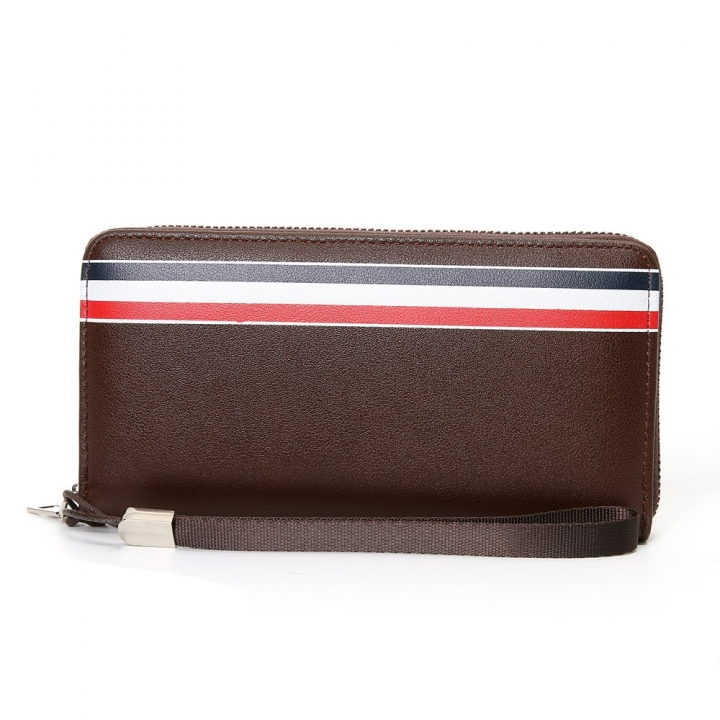 Western Style Men Long Section Wallet Zipper Fashion Hand Bag Business Leisure Male Wallet ligth coffee one size