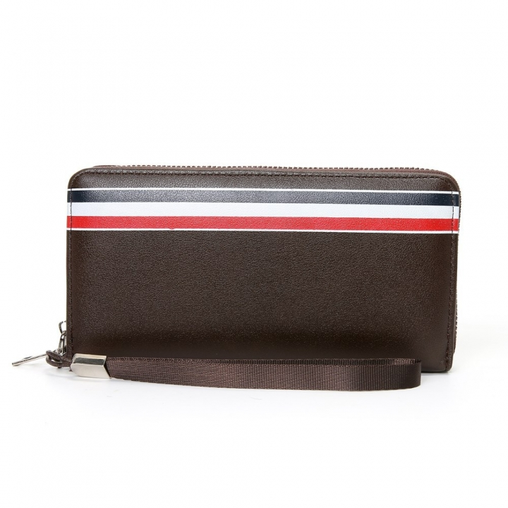 Western Style Men Long Section Wallet Zipper Fashion Hand Bag Business Leisure Male Wallet dark coffee one size