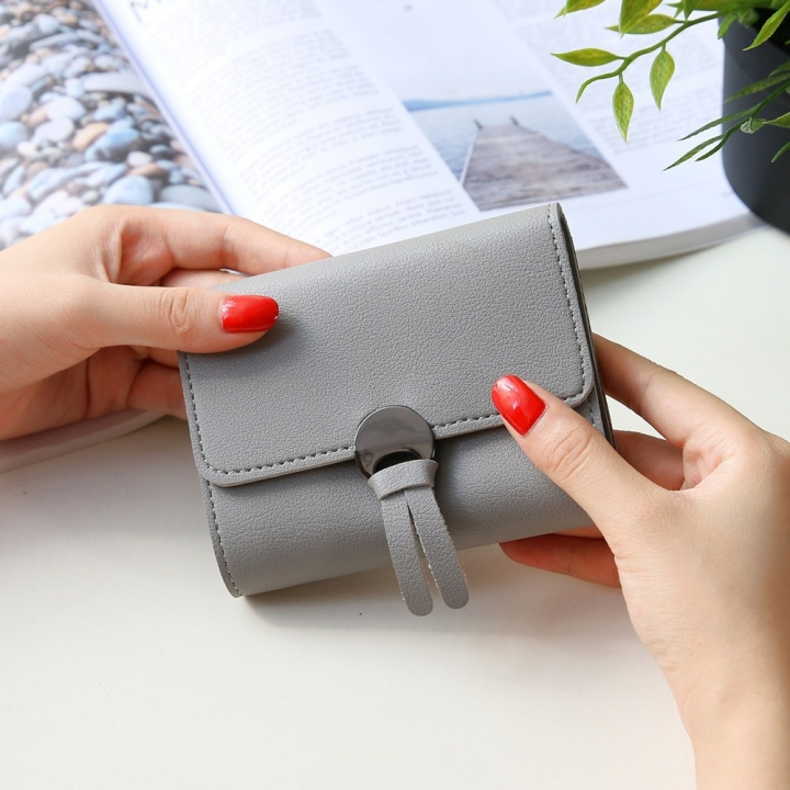 Western Style Fashion Short Section Wallet Ms Ultra Thin Mini Coin Purse Simple Wild Lovely Wallet gray one size