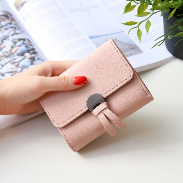 Western Style Fashion Short Section Wallet Ms Ultra Thin Mini Coin Purse Simple Wild Lovely Wallet ligth pink one size
