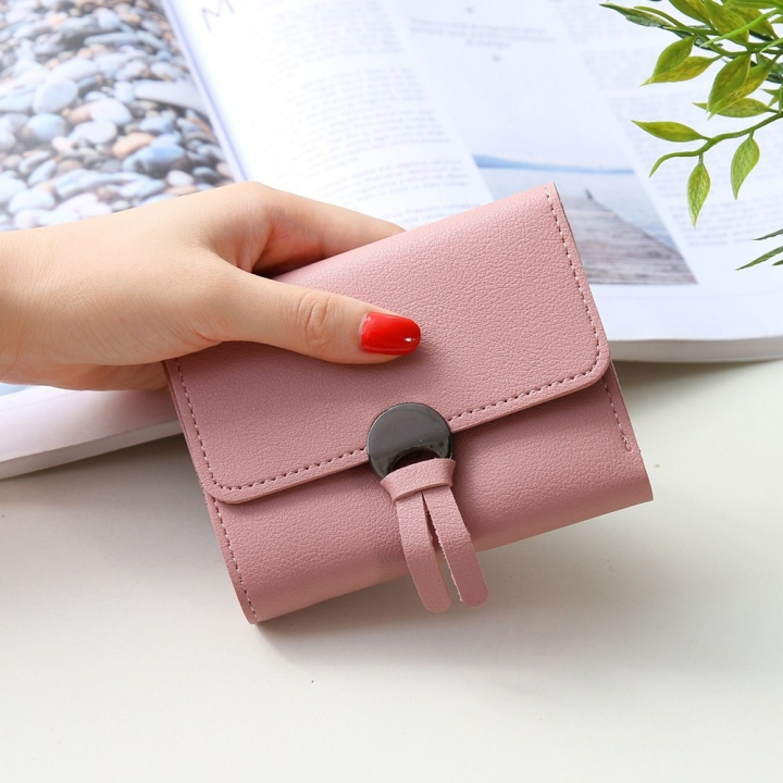 Western Style Fashion Short Section Wallet Ms Ultra Thin Mini Coin Purse Simple Wild Lovely Wallet pink one size