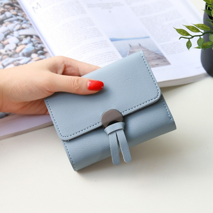 Western Style Fashion Short Section Wallet Ms Ultra Thin Mini Coin Purse Simple Wild Lovely Wallet sky blue one size