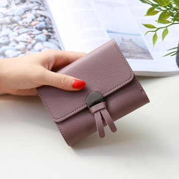 Western Style Fashion Short Section Wallet Ms Ultra Thin Mini Coin Purse Simple Wild Lovely Wallet dark pink one size