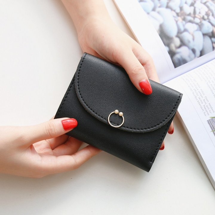 The New Ms Small Wallet Small Fresh Ring Buckle Short Section Wallet Lovely Card Pack Coin Purse black one size