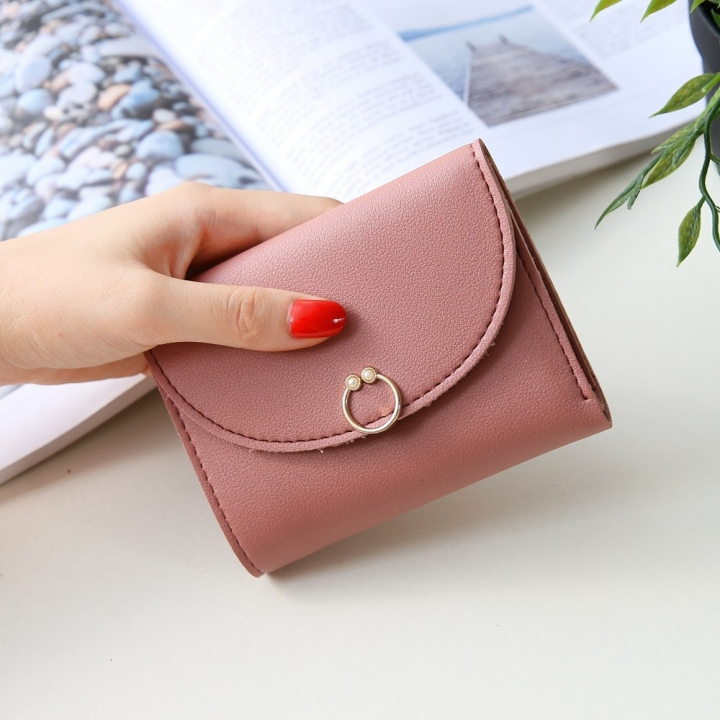 The New Ms Small Wallet Small Fresh Ring Buckle Short Section Wallet Lovely Card Pack Coin Purse pink one size