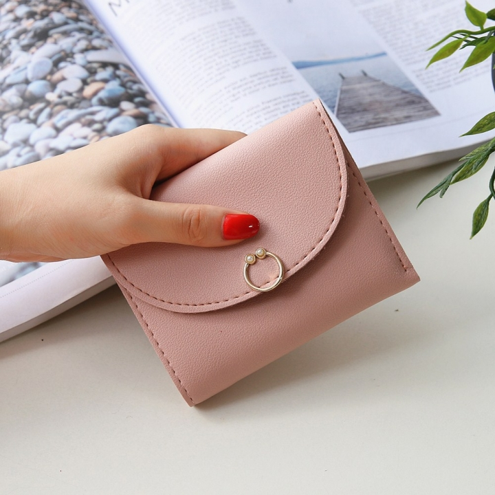 The New Ms Small Wallet Small Fresh Ring Buckle Short Section Wallet Lovely Card Pack Coin Purse ligth pink one size