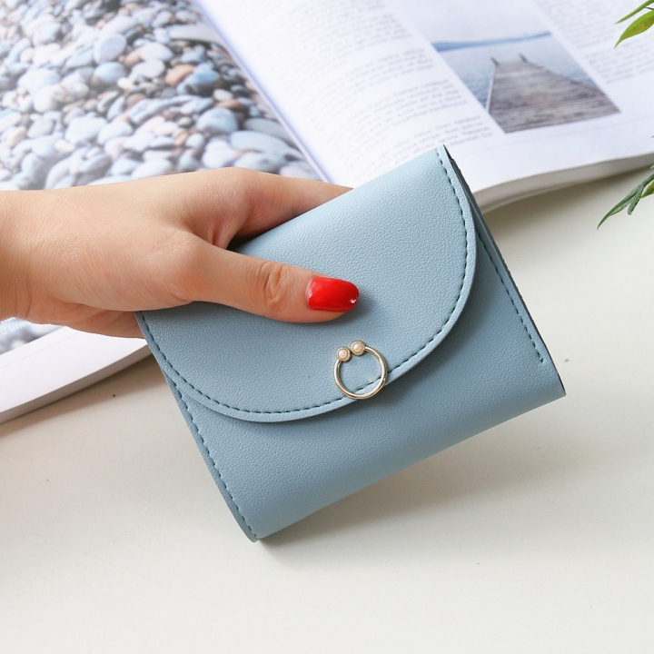 The New Ms Small Wallet Small Fresh Ring Buckle Short Section Wallet Lovely Card Pack Coin Purse ligth green one size