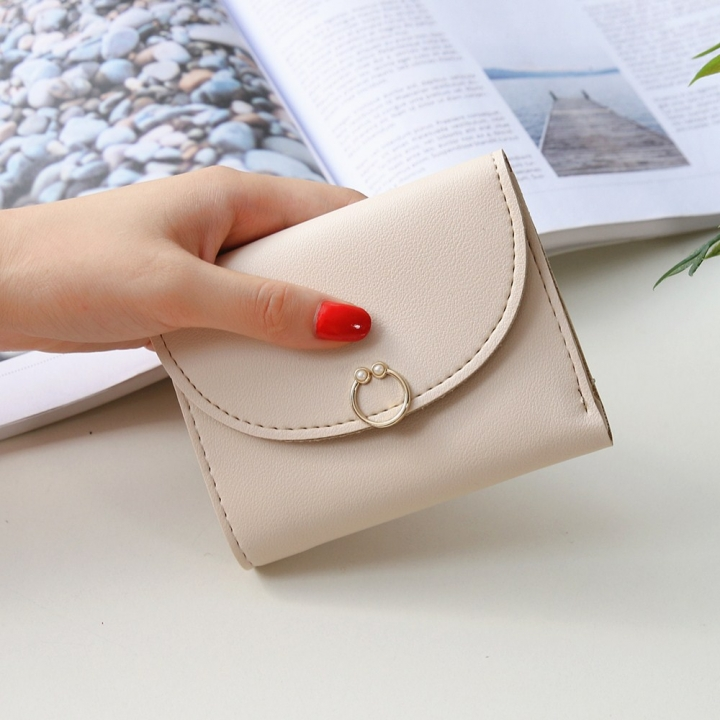 The New Ms Small Wallet Small Fresh Ring Buckle Short Section Wallet Lovely Card Pack Coin Purse gray white one size