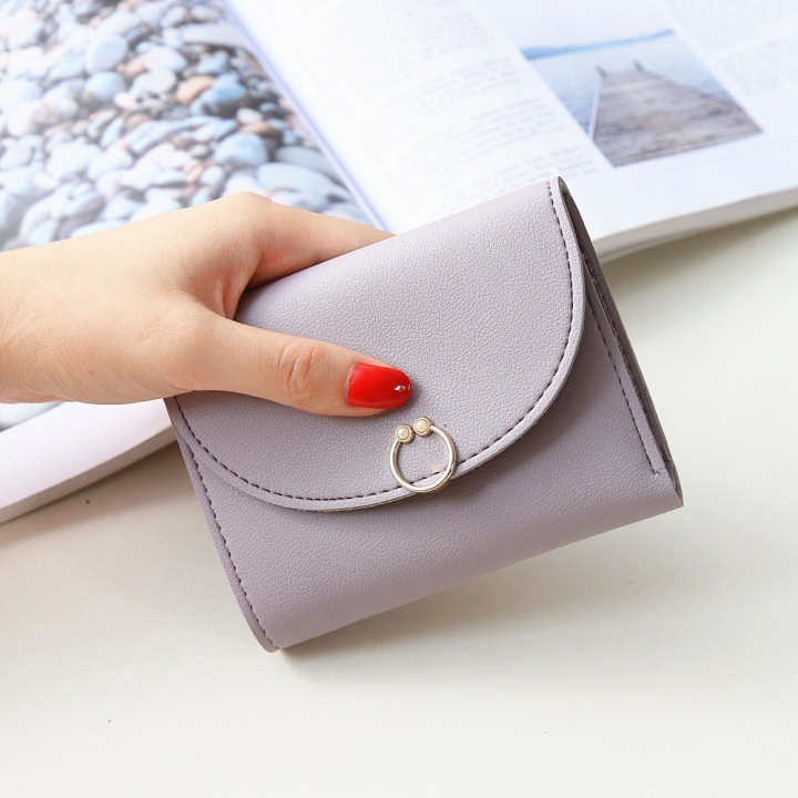 The New Ms Small Wallet Small Fresh Ring Buckle Short Section Wallet Lovely Card Pack Coin Purse ligth purple one size