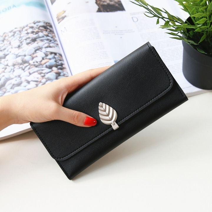 The New Wallet Long Section Simple Leaves Buckle Three Fold Female Wallet High Capacity Hand Bag black one size
