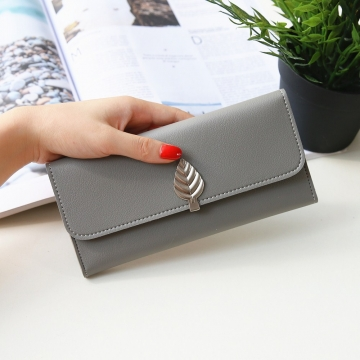 The New Wallet Long Section Simple Leaves Buckle Three Fold Female Wallet High Capacity Hand Bag gray one size