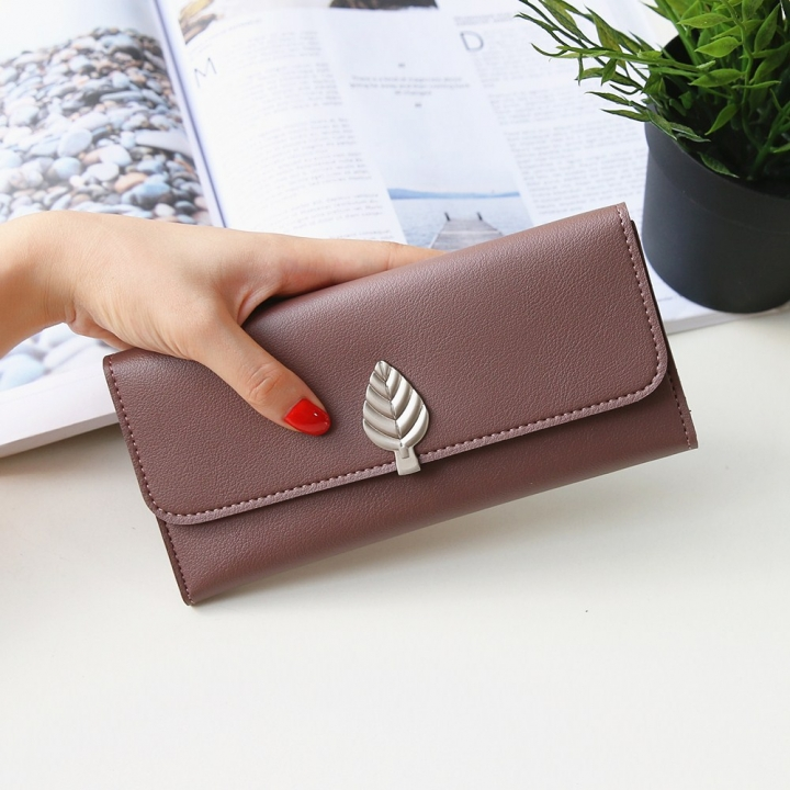The New Wallet Long Section Simple Leaves Buckle Three Fold Female Wallet High Capacity Hand Bag dark pink one size