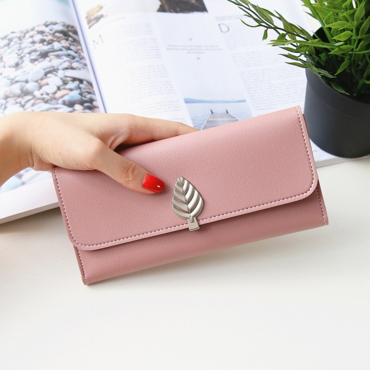 The New Wallet Long Section Simple Leaves Buckle Three Fold Female Wallet High Capacity Hand Bag pink one size