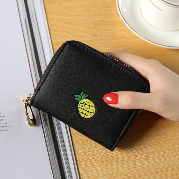 Fashion Zipper Cartoon Ms Coin Purse Fruit Graffiti Short Section Wallet Female Small Handbag black one size