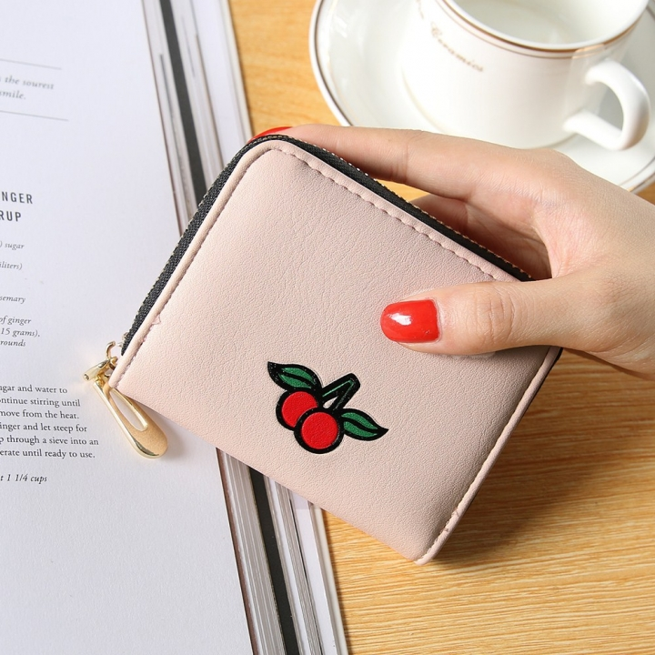 Fashion Zipper Cartoon Ms Coin Purse Fruit Graffiti Short Section Wallet Female Small Handbag pink one size