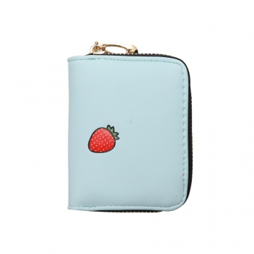 Fashion Zipper Cartoon Ms Coin Purse Fruit Graffiti Short Section Wallet Female Small Handbag ligth green one size