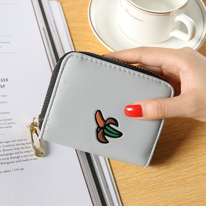 Fashion Zipper Cartoon Ms Coin Purse Fruit Graffiti Short Section Wallet Female Small Handbag gray one size