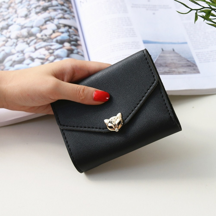 The New wallet Simple fashion Three fold soft skin Ms student Wallet Buckle Small fresh Wallet black one size