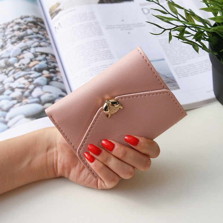 The New wallet Simple fashion Three fold soft skin Ms student Wallet Buckle Small fresh Wallet ligth pink one size